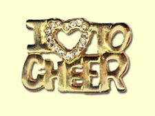 I (Heart) To Cheer Goldtone Lapel Pin - Elegant Jeweled Heart