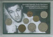 Rocky marciano world heavyweight champion de boxe memorabilia coin ensemble cadeau 1956