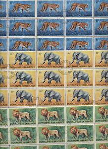 BURUNDI 1964 ANIMALS 3 Hi Values FU BLOCKS x25 cv£45