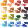 50g Transparent Czech Glass Beads Round Rainbow Plated Smooth Tiny 2mm 3mm 4mm
