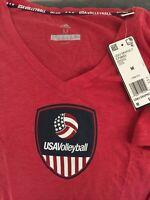 NWT Adidas Women's Size Medium Red V-neck USA Volleyball Logo T-shirt