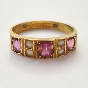 Stunning Antique Victorian 15ct Gold Almandine Garnet & Pearl Ring c1884