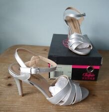 Buffalo Shoes light silver strappy heels vegan faux leather- 6 worn once wedding