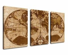 Canvas Wall Art Old World Map Framed Ready to Hang - 3 Panels Extra Large Map of