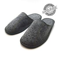 New grey mens comfort house slippers felt slip on shoes UK Size 6 7 8 9 10 11 F
