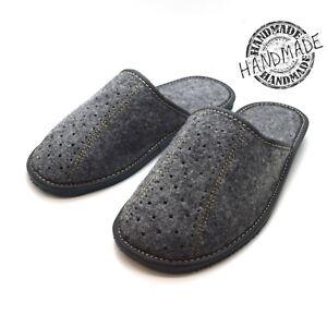 New grey mens comfort house slippers felt slip on shoes UK Size 6 7 8 9 10 11 F