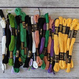 31 Skeins DMC Embroidery Floss - Yellows, Greens, Purples, Black