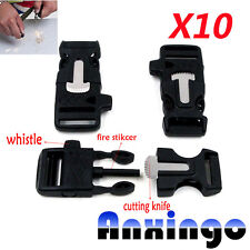 "10x3/4"" BLACK Whistle Buckles Flint Fire Starter & Striker for Paracord Bracelet"