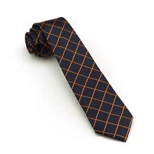 SILK Skinny Tie Slim Woven Necktie Mens Fashion Business Wedding Tie Black Navy
