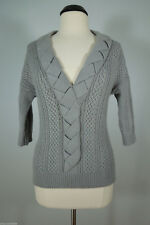 NEAL SPERLING Braided V-Neck 3/4 Sleeves Sweater Top size M