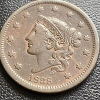 1838 Large Cent Coronet Head One Cent 1c Higher Grade XF  #29011