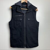 G by Guess Sz medium black zip vest hooded men's warm outdoor preowned GUC