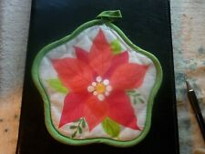 """New listing """"Holiday Time"""" Microwave Bowl Cozy Potholder-Hotpad Christmas Poinsetta Designed"""