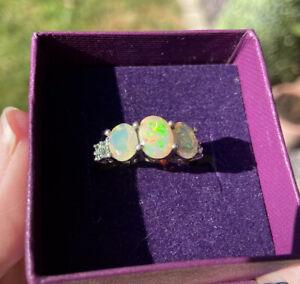 2.20ct Opal & Tsavorite Trilogy Ring  925 Sterling Silver Size P BNIB