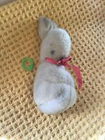 Vintage 1950s Babies Soft Bunny Rabbit With Pink Bow