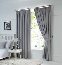 Fusion Dijon Silver Luxury Thermal / Blackout Pencil Pleat Fully Lined Curtains