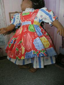 "Floral Dress Orange Print Apron 2 piece Dress 23"" Doll clothes fits My Twinn"