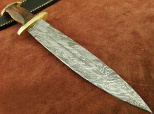 "ALISTAR 14.3""  HANDMADE DAMASCUS STEEL DOUBLE EDGE HUNTING DAGGER KNIFE (4355-42"