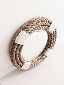 Handmade Coastal Nautical Hampton Style Round Rope Mirror Large 110cm