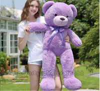 "Giant 47"" Big Huge Teddy Bear Purple Stuffed Plush Soft Toys Doll Kid Gift 120cm"