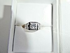 Sterling Silver Men's Cubic Zirconia Ring Size 7.75