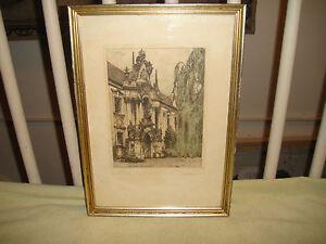 Josef Eidenberger Etching Of Durnstein Signed Framed Klosterhof