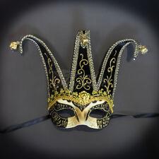 Mardi Gras Venetian Masquerade Theater Jester Mask Gold Black M7052