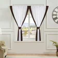 PAIR READY MADE CURTAINS Brown White VOILE TAPE TOP.