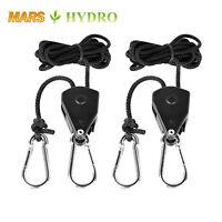"2PC 1/8"" Rope Ratchet Reflector Grow Light Hangers 150lb Weight Capacity"