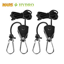 "2PC 1/8"" Rope Ratchet Reflector Grow Light Hangers 150lb Weight Capacity"
