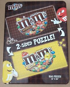 """M&M's Double Sided 500 piece Jigsaw Puzzle In a Collectible Tin 