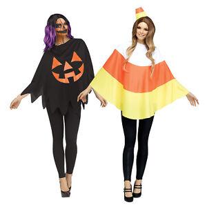 Womens Candy Corn Jack O'Lantern Pumpkin Poncho Cape Halloween Easy Costume