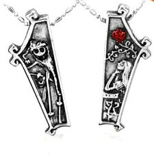 Set NIGHTMARE Before CHRISTMAS Jack & Sally Coffin Couple 2pc Necklace WG Plated