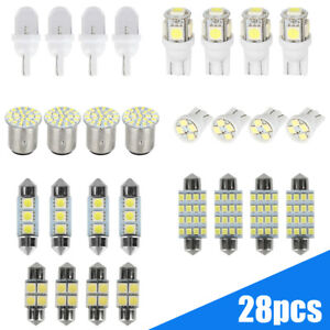 28Pcs Car Interior LED Lights For License Plate Dome Lamp Auto Accessories Kit