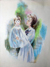 Peter Schofield, Listed Artist, Original Coated Pastel - Young Girl with Mother