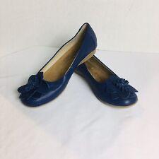White Mountain Womens Shoes Hudson Blue Flower Toe Slip On Ballet Flats Sz 8.5 M