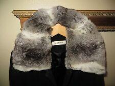 Isaac Mizrahi Women's Black Wool Dress Coat Suit Jacket Chinchilla Fur Sz. 6 HOT