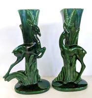 """Pair Vintage Mid Century Modern MCM 15"""" Royal Haeger? Green Gazelle Deer Vases"""