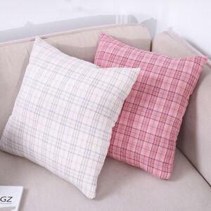 DI- FP- IC- FT- KE_ 45cmx45cm Plaid Soft Throw Pillow Case Cushion Cover Sofa Be