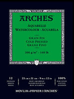 "1795092 ARCHES 9"" X 12"" 140 LB./300G COLD PRESS WATERCOLOR PAD 12 ..."