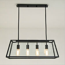 Big Rectangle Metal Ceiling Lamp 4 Edison Bulbs Pendant Light Modern Chandeliers