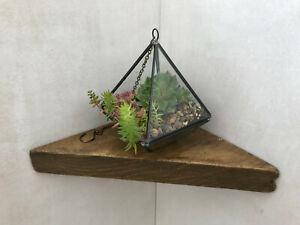 Reclaimed Upcycled Rustic Scaffold Board Small Corner Shelf + Angle Brackets