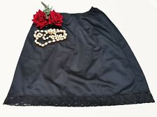 """Long Full Slip Underskirt Lace Hem in Black Length 30"""" Size 12/14  WS30"""