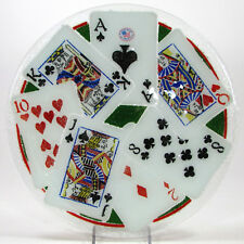 """Peggy Karr PLAYING CARDS - STUD POKER 11.25"""" Round Plate Fused Glass Mint"""