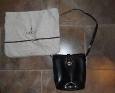 GUCCI Vintage Solid Leather Black With Gucci Logo Square Shoulder Bag dust bag