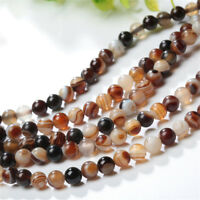 4/6/8/10/12mm Natural Tawny Stripe Banded Agate Gemstone Loose Beads DIY 15.5""