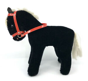 Black Pony Horse Mohair Plush Hermann Germany 16cm 6in Red Bridle Glass Eyes Vtg