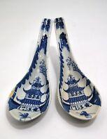 2 Cucchiai Cinesi IN Ceramica Blu & Bianco Cina XIX Palazzo Imperiale