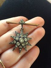 Stunning  Antique victorian silver & 9 ct rose gold paste star brooch pendant