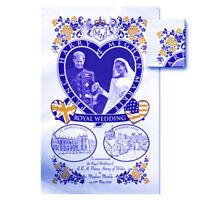 PRINCE HARRY & MEGAN MARKLE ROYAL WEDDING DAY TEA TOWEL SHIPS FROM USA